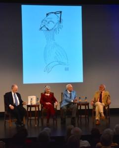 (left – right) Frank Rich, Louise Kerz HIrschfeld, Robert Osbourne , Harold Prince,Al Hirschfeld,Harold Prince, Don Pollard