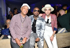 Russell Simmons, Jermaine Dupri and DJ Cassidy attend The 6th Annual Bombay Sapphire Artisan Series Grand Finale Cohosted By Russell Simmons And Rosario Dawson During Art Basel at Nautilus Hotel