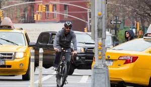 Hugh Jackman on bike