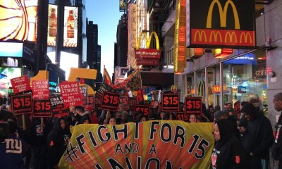McDonalds protest Times Square