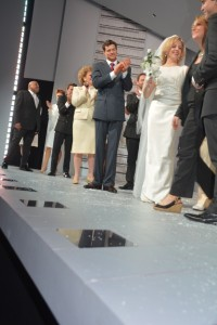 The cast on stage opening night
