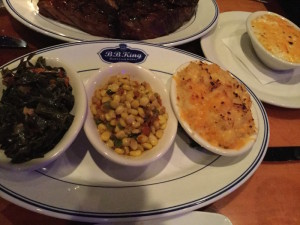Collard Greens, Spicy Souther Styled Corn, Mac and Cheese, Cheesy Grits