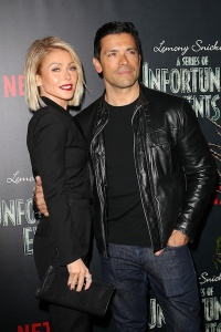 "New York, NY - - 1/11/17 - Kelly Ripa and Mark Consuelos Attend the World Premiere Screening of NETFLIX's ""Lemony Snicket's A Series of Unfortunate Events"". The series stars Neil Patrick Harris, Patrick Warburton and Alfre Woodard. The series based on the internationally bestselling book series by Daniel Handler. The series is directed by Barry Sonnenfeld. -Pictured: Kelly Ripa and Mark Consuelos -Photo by: Kristina Bumphrey/StarPix"