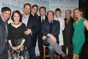 Don Stephenson and Ken Ludwig with the cast-David Josefsberg, Judy Blazer, John Treacy Egan, Ryan Silverman, Jill Paice, Michael Kostroff, Donna English