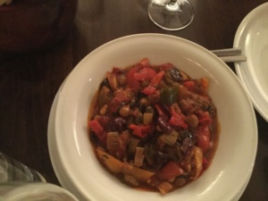 vegetarian caponata, Mozzarella & Vino