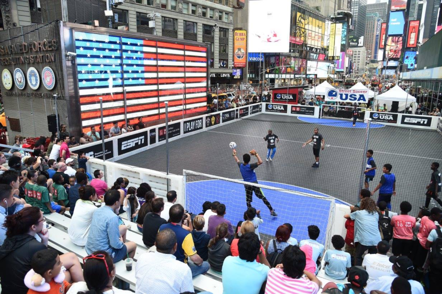 Nyc cup at times square 2017 sport for social change for Activities in times square