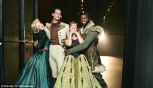 Murin, Caissie Levy, Jelani Alladin, and John Riddle star as Anna, Elsa, Kristoff, and Hans