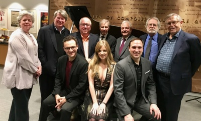 Sarah Douglas, Andre Bishop, Richard Terrano. Maury Yeston, Elliot H. Brown, John Weidman, Richard Maltby, Jr. The 2018 Kleban Prize winners (seated, L-R): Alan Schmuckler, Amanda Yesnowitz, Christian Duhamel