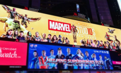 Marvel Studios, Running 10th Anniversary Digital Billboard, Times Square